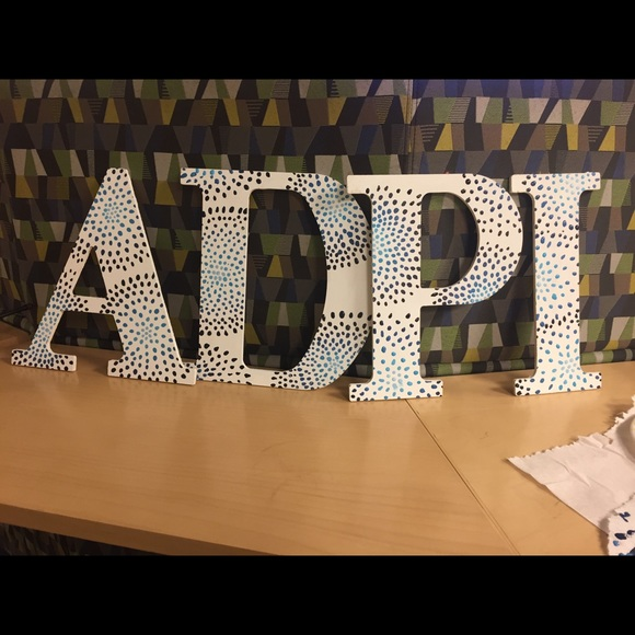 adpi sorority wooden letters hand blue white